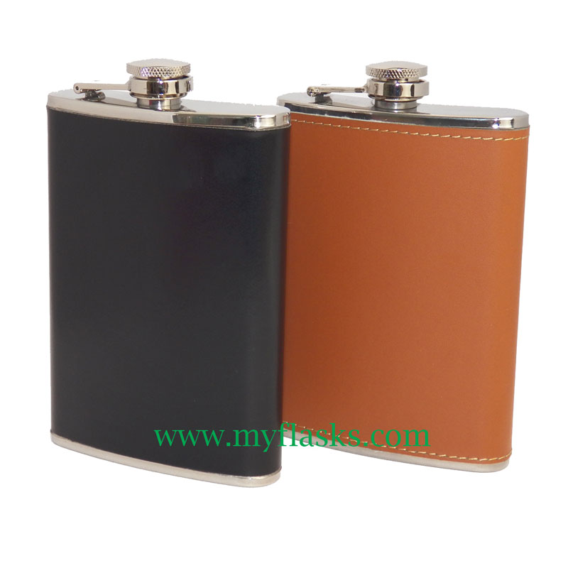 Faux Leather Wrapped Flasks