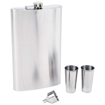 big flask half gallon with shot cups and funnel