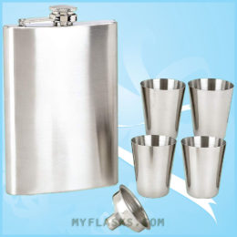 6pc hip flask gift set