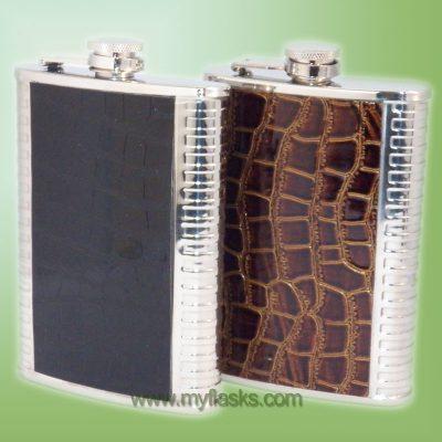 Black or brown faux alligator flask