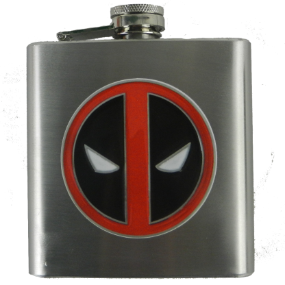 close up 6oz flask for men featuring comic book character