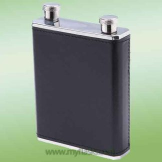 dual compartment flask 10oz leather wrapped
