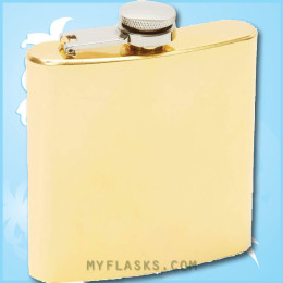 6 oz hip flask in gold tone plate