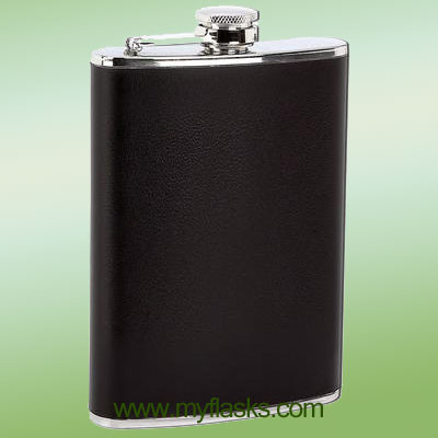 black fake leather wrapped hip flask for men