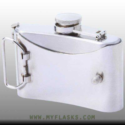 belt buckle flask skull emblem