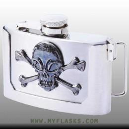 belt buckle flask 3 oz front skull