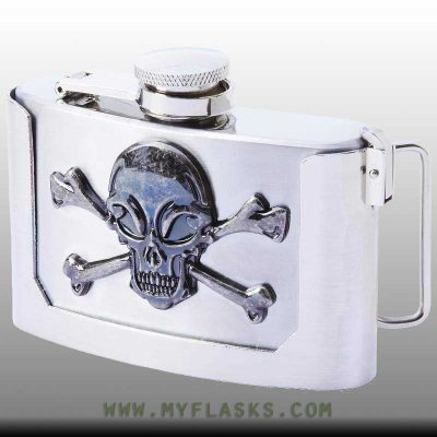 belt buckle flask 3 oz front skull