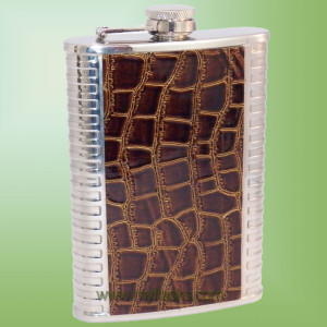 Flask with faux alligator wrap