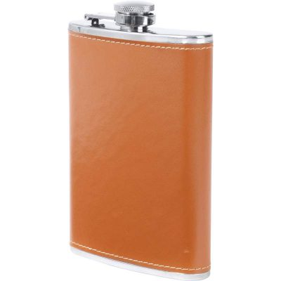 tan faux leather flask