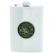 Maxam® 8oz Stainless Steel Flask with Fire Department Medallion 1