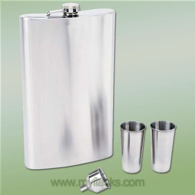 giant flask huge 64oz with shot cups and funnel