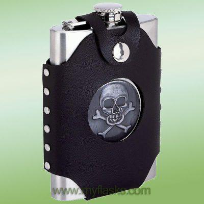 flask 8 oz skull & crossbones