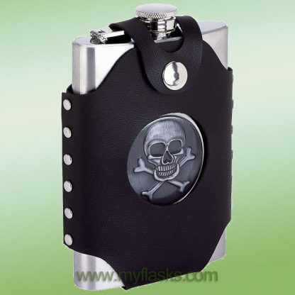 flask 8 oz skull & crossbones