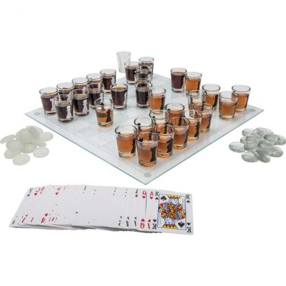 cards checkers chess drinking game set