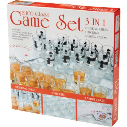 3 in 1 drinking game set box
