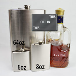 flask sizes compared 64 ounce to 6 ounce flasks
