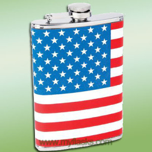 flag wrapped flask