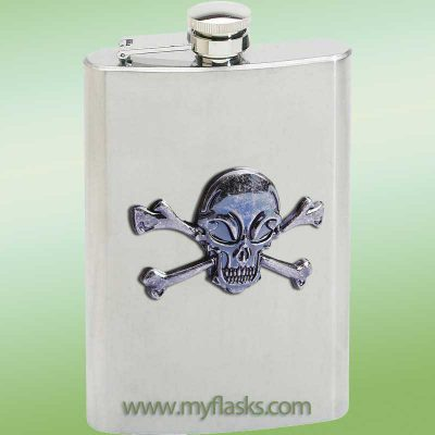 flask skull & crossbones halloween flask