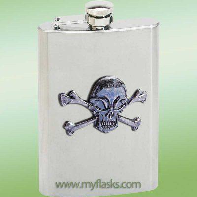 flask skull & crossbones halloween flask