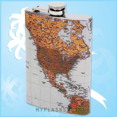 hip flask with world map wrap