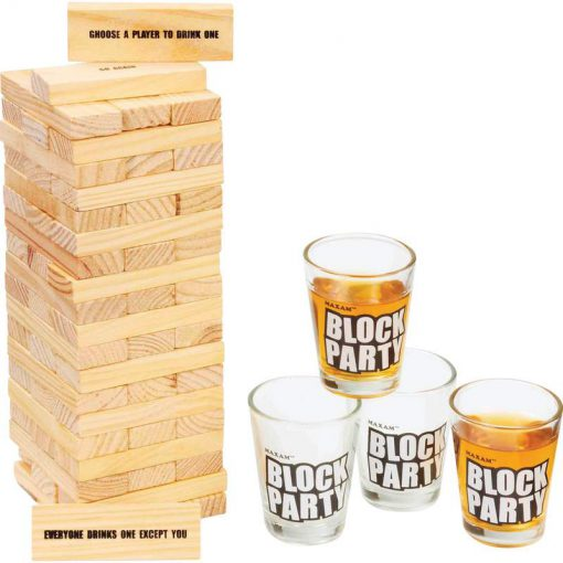 block stacking drinking game with shot glasses