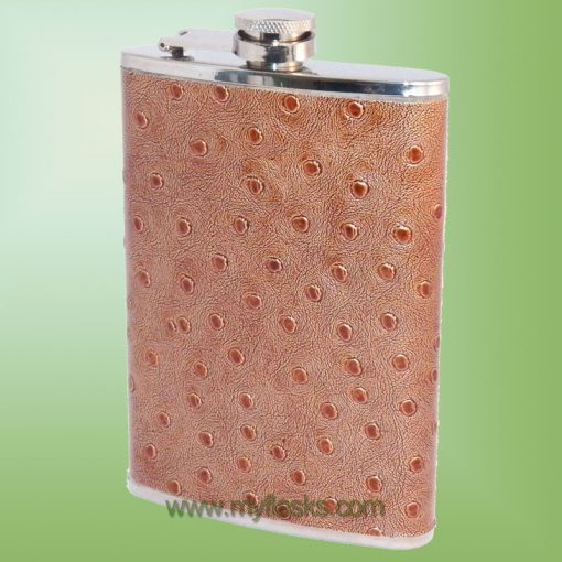 flask with faux ostrich leather