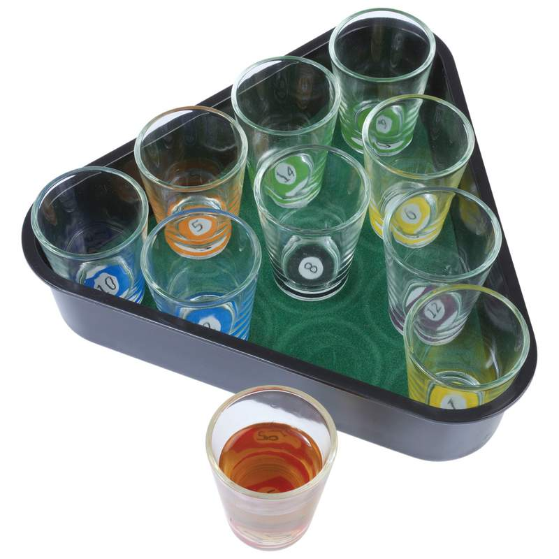 11 pc Pool Rack Shot Glasses Game